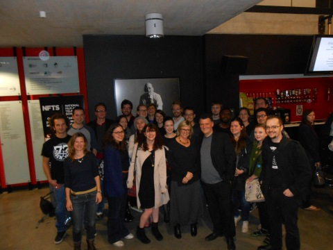 Steven Moffat & Sue Vertue w students