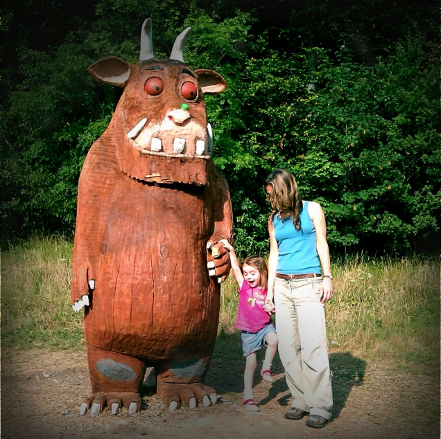 My niece making friends with the Gruffalo at Wendover Woods