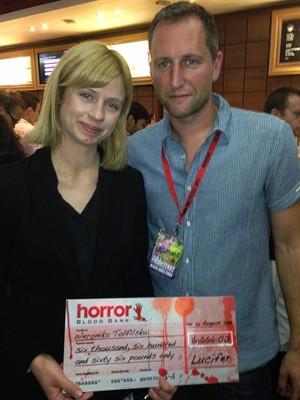 Weronika Tofilska with judge John Shackleton